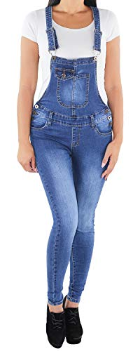 Sotala Damen Stretch Röhren Hüft Jeans Hose Slim Fit Skinny Latzhose Latzjeans Overall Jumpsuit Blau A XS (34)