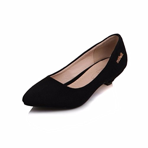 RFF-Women's Shoes Damen Pumps/Geschlossene Ballerinas/Riemchenpumps/der Big Size Damen Schuhe, Metallteile, Flache Schuhe, Heel Pumps Damen Schuhe, Schwarz, 39