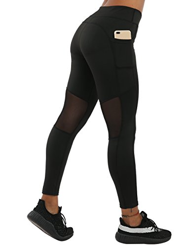 NORMOV High Waisted Yoga Pants for Women-Soft Shaping Butt&Leg Workout Leggings with Pockets (Black-Mesh Stitching, S)
