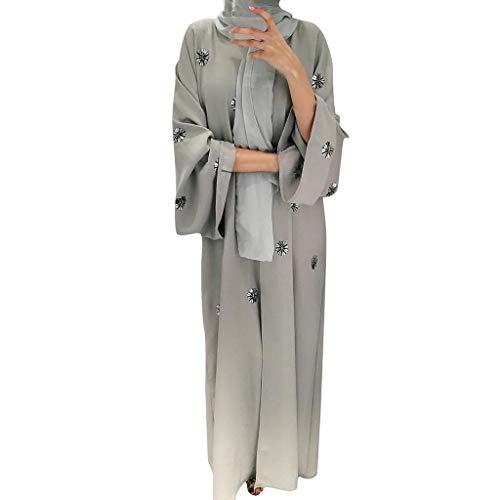 Cardigan Mujer Invierno Otoño 2019 SHOBDW Liquidación Venta Musulmanas Bata De Vestir Maxi Bordado Manga Larga Blusa Tops Abrigo Mujer Largos Suave Bata Casual Chal Mujer Suelto(Gris,M)