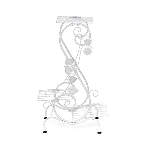 WGG Soporte para Plantas De 3 Niveles, Estante De Hierro Maceta Exhibición Sala De Estar Balcón Jardín Bonsái Decoración De Pared (Color : Blanco, Talla : 43 x 24 x 67.5cm)