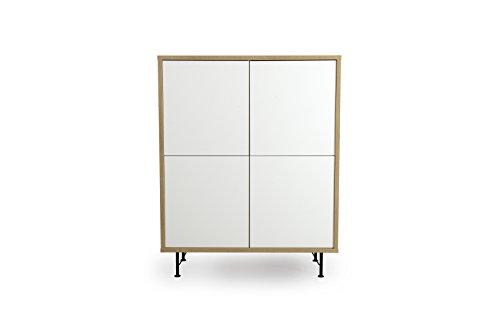 tenzo 2864-678 FLOW Designer Rangement 4 portes, Blanc, Structure particules mélaminé chêne. Façades : panneaux MDF mat. Pieds en acier laqué noir, 137 x 111 x44 cm (HxLxP)