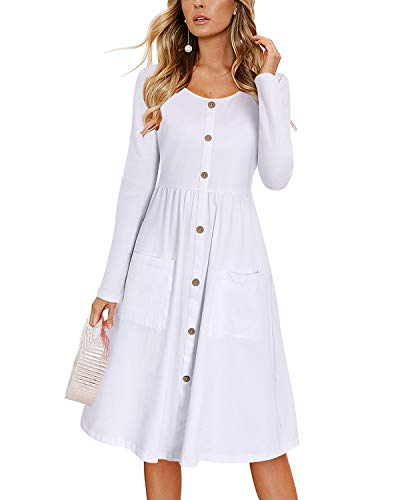 KILIG Women's Long Sleeve Dresses Casual Button Down Swing Dress with Pockets (Large, D9-White)