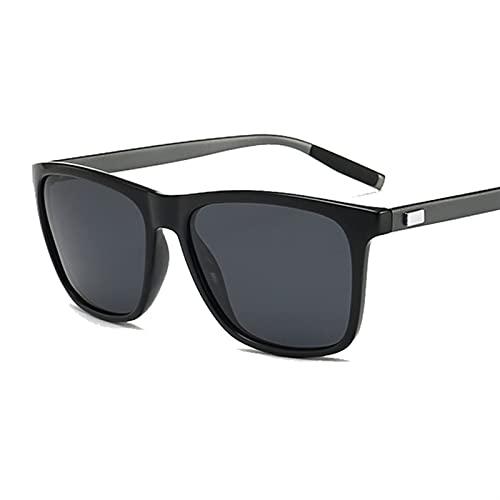 QSLS 1 pc Gafas de Sol polarizadas Hombres Mujeres Classic Plaza Plastic Al Aire Libre Outdoor Gafas de Sol Hombre Femenino Moda Sombras Negras (Lenses Color : Black (Gun Legs))