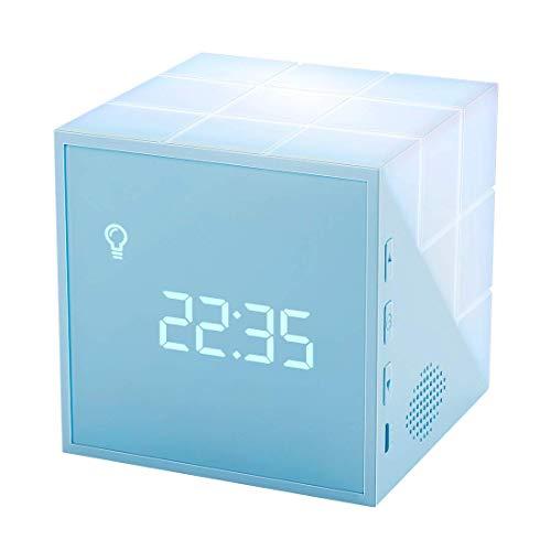 Homealexa Kinder Lichtwecker Creative Cube Wake Up Kinderwecker mit farbige Nachttischlampe Snooze-Funktion, zeitgesteuertes Nachtlicht, Kindertagesgeschenk für Kinder