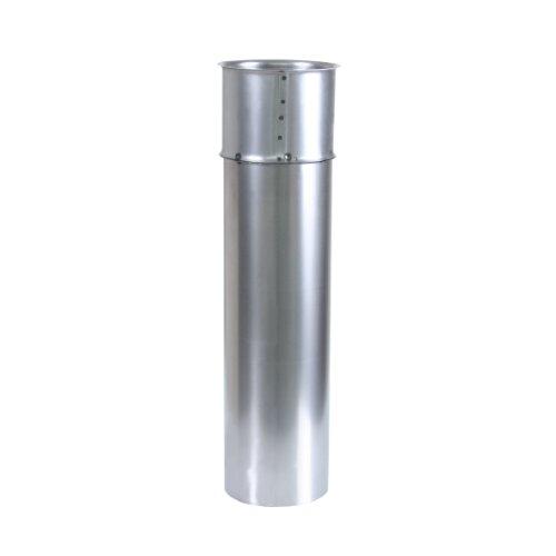 Kamino Flam Wandfutter doppelt in Silber, Doppelwandfutter aus feueraluminiertem Stahl, geprüft nach Norm EN 1856-2, mit Rohr der Länge 500 mm, Durchmesser: ca. 150 mm
