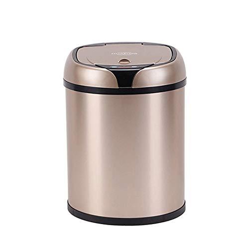 Miilleimer Vollautomatische Edelstahl Intelligente Infrarot-Sensor-Abfalleimer for Haushalt Badezimmer, Küche, Batterie (Gold und Silber) (Color : Silver, Size : M)