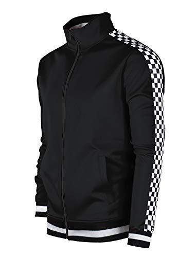 SCREENSHOTBRAND-F11854 Mens Urban Hip Hop Premium Track Jacket - Slim Fit Checker Taped Block Fashion Top-Black-Medium
