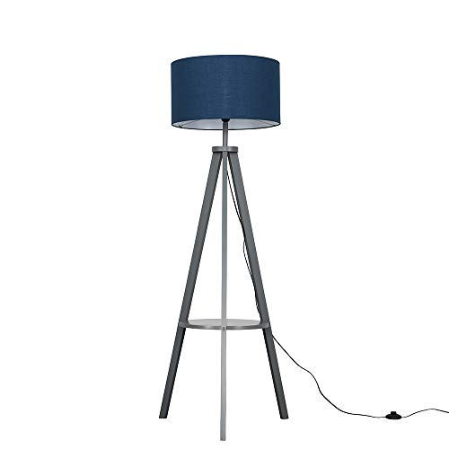 Modern Grey Wood Tripod Design Floor Lamp with Storage Shelf & Navy Blue Drum Shade - Complete with a 6w LED Bulb [3000K Warm White]