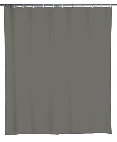WENKO Duschvorhang Mouse Grey - wasserdicht, leicht zu pflegen, Polyethylen-Vinylacetat, 180 x 200 cm, Grau