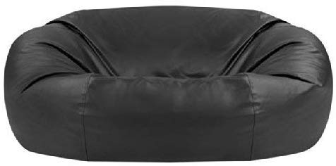 Bean Bag Bazaar Two Seater Faux Leather Bean Bag Sofa, Black, 150cm x 115cm, Giant Living Room Bean Bags for Adults