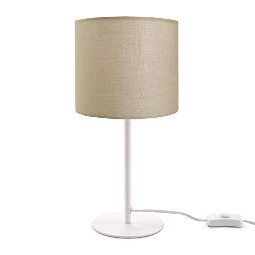 LED Tischlampe E14 Lampe, Für Wohnzimmer Und Schlafzimmer, Unifarben, Deko, Lampenfuß:Weiß, Lampenschirm:Beige (Ø18 cm)