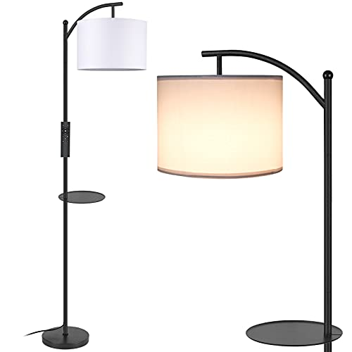 MOFFE Floor Lamp,Arc Floor Lamp with Removable Tray,4 Color Tempratures and Dimmable Brightness Standing Reading Lamps with Remote and Foot Control for Living Room,Bed Room,Office(Led Bulb Included)