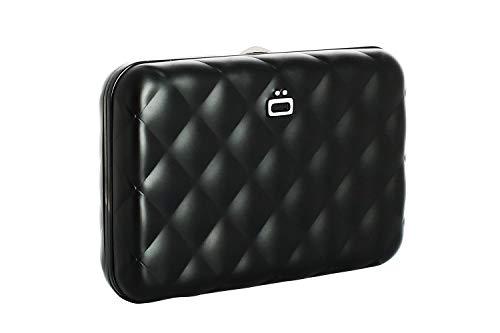 Ögon Smart Wallets - Quilted Button Cartera Tarjetero - Protección RFID: Protege Tus Tarjetas de Robar - hasta 10 Tarjetas + Recetas + Notas - Aluminio anodizado (Negro)