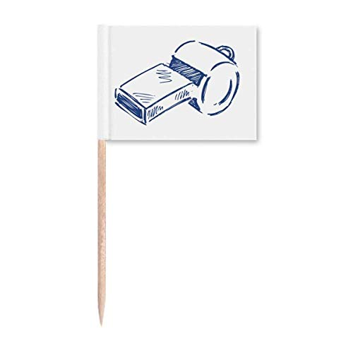 Caricaturas de fútbol silbato azul fútbol palillo banderas marcador decoración fiesta