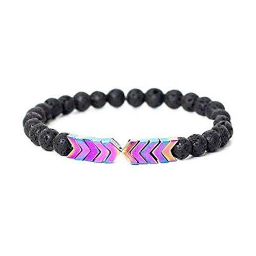 WATOP Volcanic Lava Stone Essential Oil Diffuser Bracelets- Bangle Healing Balance Yoga Magnet Arrow Beads Bracelets- for Men Women (5)