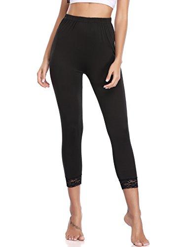 Abollria Damen 3/4 Leggins Blickdicht Leggings Hose mit Spitze Dünne Stretch Caprihose