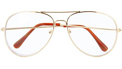 MJ Eyewear Classic Tear Drop Aviator Glasses Clear Lens Metal Frame (Gold, Clear)