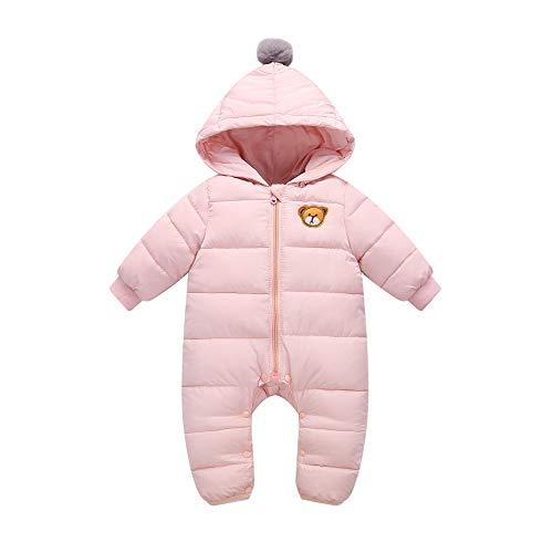 Bambino Tute da Neve Pagliaccetto con Cappuccio Inverno Tutine Outfits 9-12 Mesi, Rosa