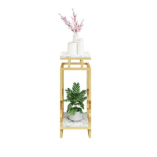 FHISD Soporte de Flores de Hierro Forjado nórdico para Interiores, Soporte para macetas de mármol de múltiples Capas, Estante para Sala de Estar, balcón, Suelo Dorado
