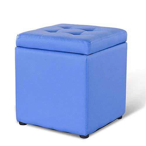 AINIYF Tabouret créatif en Cuir de Tabouret en Cuir de Banc de Rangement de Salon de Salle de séjour de Tabouret de pièce d'essayage / 13,8 Pouces X11.8 Pouces X11.8 Pouces (Couleur : Bleu)