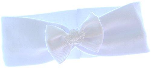 La Bortini baby kinderhaarband hoofdband haarband wit met strik feestelijk doop