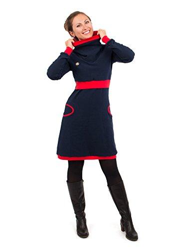 Viva la Mama Schwangerschaft Kleid für Winter Umstandsmode Stillmode Kleid lang zum Stillen Elegantes Kleid für Schwangere Neele Marine blau/rot - XL