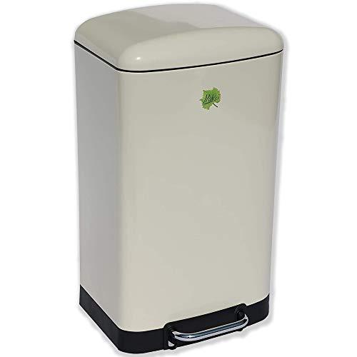 Made for us 40 Liter 50er-Jahre Retro-Mülleimer mit herausnehmbarem Inneneimer, Soft-Touch Deckel und Slow Down Absenkautomatik als Tret-Abfalleimer für Küchen, 40 L Abfall-Eimer Pedal-Treteimer