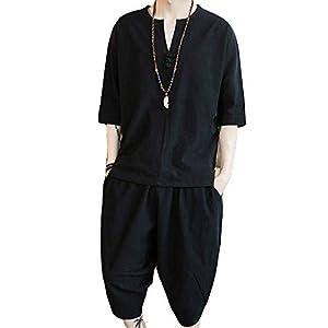 「楽々服」 Dreambuilder(ドリームビルダー)メンズ Tシャツ 半袖 綿麻トップス ハーフ ショート パンツ 上下 セット アップ 無地 部屋着 大きいサイズ (2XL(約72.5-80kg), ブラック) 2XL