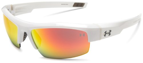 Under Armour Igniter Sunglasses Oval, Shiny White/Gray Orange Multiflection Lens, One Size