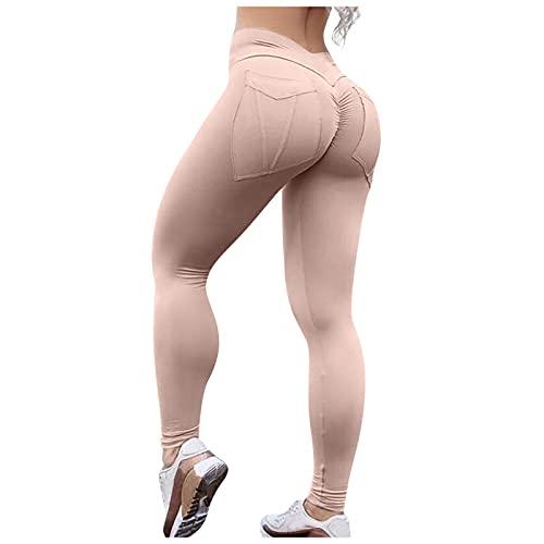 Damen Yogahose Sportshose,Sommer Reitleggings Slim Leggings,Hohe Teile Blickdicht,Schnell Trocknend Elastischem Beinabschluss Jogginghose,Einfarbig Fitnesshose für Gym Yoga Training Radfahren Laufen