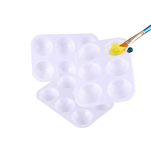 Paint Plastic Palettes with 6 Well Watercolor Painting Tray White (12pcs)