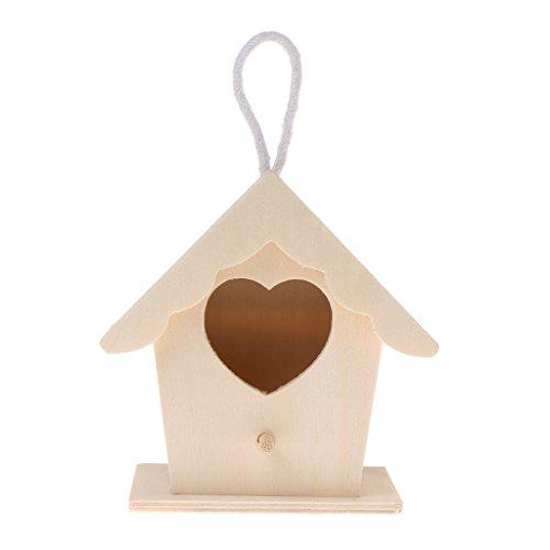 Mentin Nid d'oiseau Maison en Bois Naturel DIY Créatif en Forme de Perroquet Perroquet Suspendu