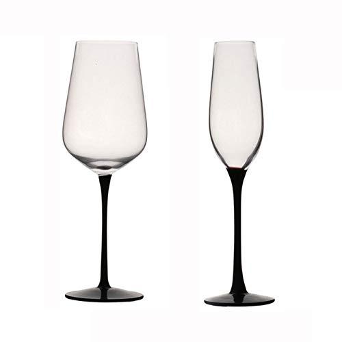 JJCFM Rode Wijnglas, Zwarte Voeten Champagne Glas Witte Wijnglazen, Home Loodvrije Crystal Goblet – voor Wijnproeverij, Bruiloft, Jubileum, Feest, Bar, Cadeau, 502Ml/210Ml