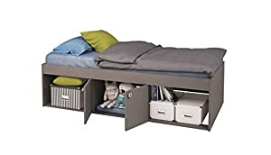 Low Sleeper Kids Cabin Storage 2 Niche Single 3ft Bed, Grey