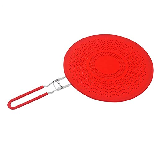 Sanfiyya Splatter Screen Frying Pan Cover 29cm with Handle Silicone Oil Splash Guard Drain Board Cooling Mat Pot Lid Red