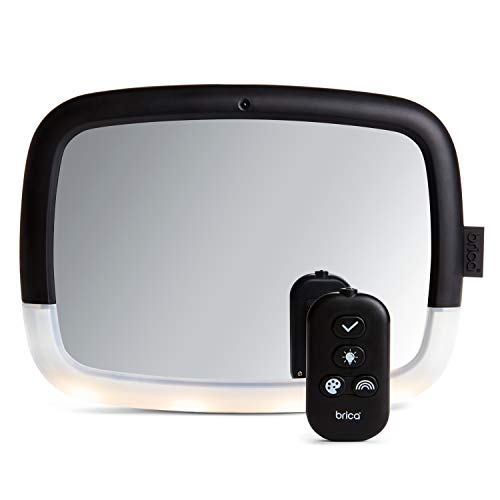 Munchkin Brica Night Light Pivot Baby In-Sight Wide-Angle Adjustable Car Mirror with Glare-free LEDs, Crash Tested & Shatter Resistant, Black