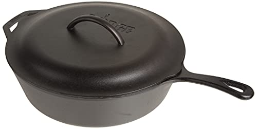 Lodge Pre-Seasoned Cast Deep Skillet, 5 Quart, Black