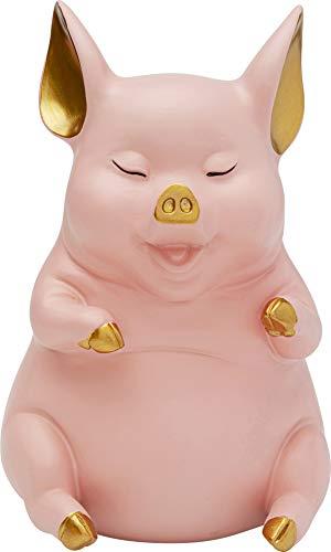 Kare Spardose Happy Pig Sitting Rosa, Polyresin, Gold