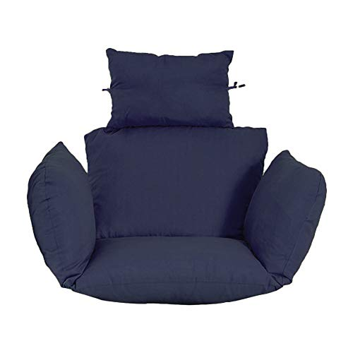 HCJX Cojín colgante para silla de huevo, grueso, antideslizante, para colgar, cojín extraíble, lavable, con almohada para jardín, almohadillas para interiores (azul marino)