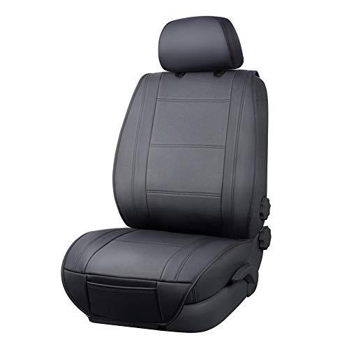 AmazonBasics - Funda Deluxe de asiento de cuero sintético de ajuste universal sin laterales con organizador trasero, negro