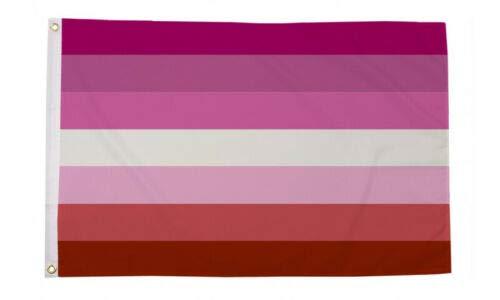Flagmania® Lesbische Streifen (Keine Lippen) Gay Pride Festival 150 cm x 90 cm Fahne + 59 mm Button Badge