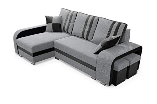 Robin York Ecksofa mit Schlaffunktion, Schlafsofa mit Bettkasten und Zwei Hocker, Freistehendes Eckcouch in L-Form, Sofa mit Schlaffunktion (Grey/Black)