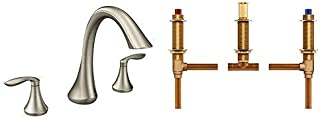 Moen T943BN Eva Two-Handle High-Arc Roman Tub Faucet without Valve, Brushed Nickel with Moen 4792 Two Handle Roman Tub Valve Adjustable 1/2-Inch CC Connection, Chrome
