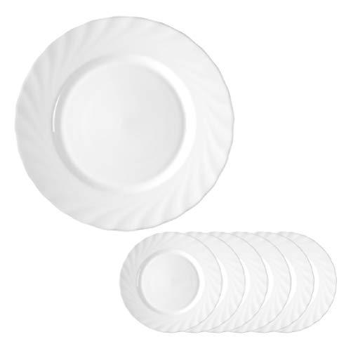 Arcoroc ARC D6890 Trianon Uni Teller flach, 24,5 cm, Opalglas, weiß, 6 Stück