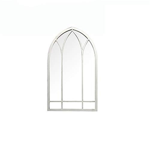 JJZI-L Inicio Uso Decorativo Espejo, Espejo Pasillo de la Entrada Espejo de baño Espejo de Pared de Metal de Hierro Forjado Ventana de diseño de Longitud Completa (Color : White, Size : 48 * 83CM)