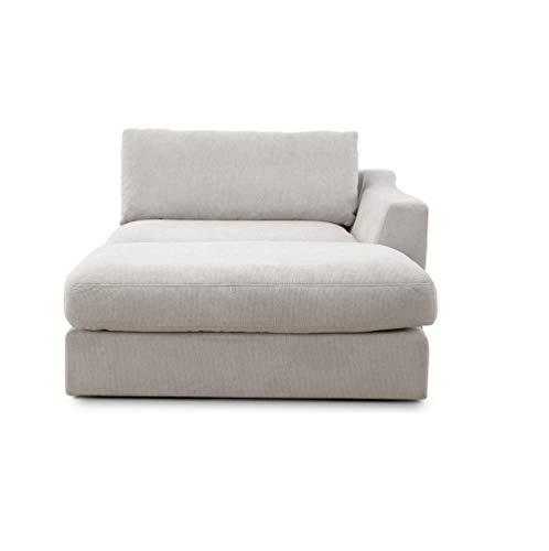 """CAVADORE Sofa-Modul """"Fiona"""" Longchair mit Armteil rechts / XXL-Recamiere passend zur Couchgarnitur Fiona / 139 x 90 x 199 /Webstoff beige"""