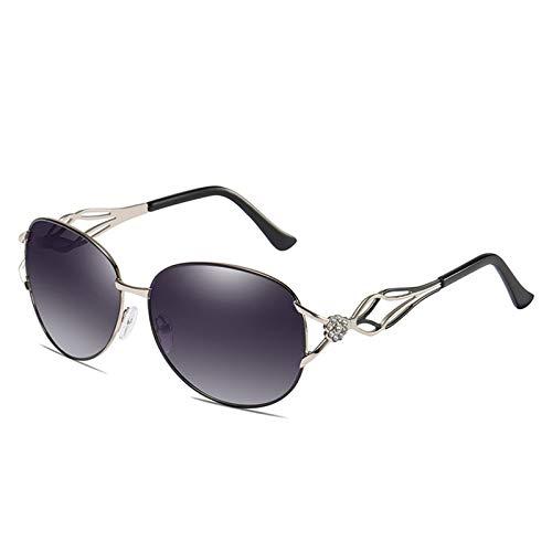 LALB Gafas De Sol Polarizadas De Las Mujeres, Gafas De Sol De Conducción De Diamantes Elegantes De Al Todo El Mundo A163,Negro