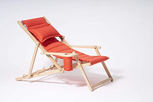 MyDeer - Tumbona plegable de madera | Sillón lounge con cojín | Tumbona para jardín, balcón, camping | Silla plegable con reposabrazos y soporte para bebidas | color frambuesa