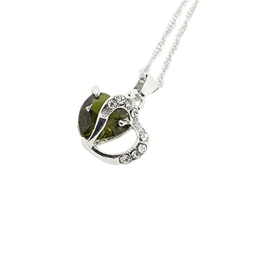 SENZHILINLIGHT Collar con colgante de cadena de plata con diamantes de imitación de cristal para mujer, collar de circonita en forma de corazón